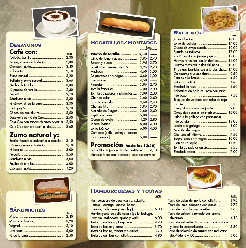 ▷ Carta Barra Restaurante Leyendas 【 912 165 333 】